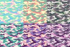 Reeks camouflage naadloze patronen van ongebruikelijke kleuren Vector illustratie Stock Foto's