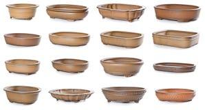 Reeks ceramische bloempotten Stock Afbeelding