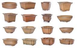 Reeks ceramische bloempotten Stock Foto