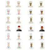 Reeks chef-koks in verschillende uniformen van verschillende rassen in vlakte Stock Fotografie