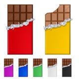 Reeks chocoladerepen in kleurrijke omslagen Royalty-vrije Stock Fotografie