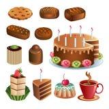 Reeks chocoladesnoepjes en cakes Stock Afbeeldingen