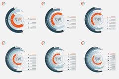 Reeks cirkel infographic malplaatjes met 3-8 opties Stock Foto