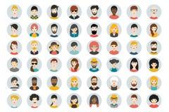 Reeks cirkelpersonen, avatars, de verschillende nationaliteit van mensenhoofden in vlakke stijl royalty-vrije illustratie