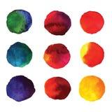 Reeks cirkels van de waterverfhand geschilderde gradiënt die op wit worden geïsoleerd Royalty-vrije Stock Afbeeldingen