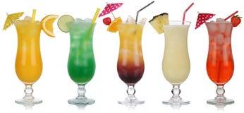 Reeks cocktails met de Zonsopgang van Pina Colada en Tequila- Royalty-vrije Stock Foto