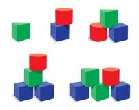 Reeks combinaties van meetkundeblokken Stock Foto's