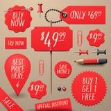 Reeks commerciële verkoop en kortingsstickers Royalty-vrije Stock Afbeelding