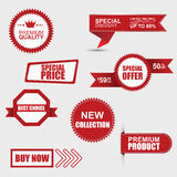 Reeks commerciële verkoopstickers, etiketten en banners Royalty-vrije Stock Foto's