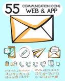 Reeks communicatie pictogrammen voor app en Web Stock Afbeelding