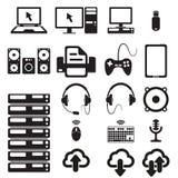 Reeks computers en hardwarepictogrammen royalty-vrije illustratie