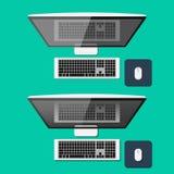 Reeks computers in vlakke stijl Hoogste mening stock illustratie