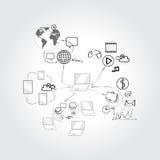 Reeks concepten van het krabbelontwerp voor samenwerking stock illustratie