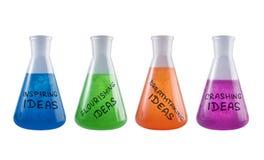 Reeks conceptuele flessen met creatieve reagentia Royalty-vrije Stock Fotografie