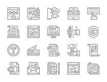 Reeks Copywriting-Lijnpictogrammen Schrijfmachine, Presentaties, Printer en meer stock illustratie