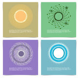 Reeks Creatieve Kaarten met Hand Getrokken Spirograph-Cirkelkader Stock Fotografie