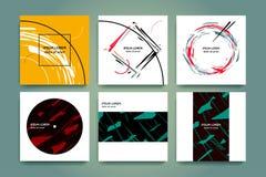 Reeks creatieve minimalismachtergronden Abstracte meetkunde en gescheurde vormen Hand getrokken stijl Toepasselijk voor muziekdek Stock Foto's
