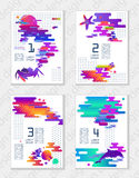 Reeks creatieve universele abstracte kunstaffiches in moderne futuristische stijl met elementen van mariene fauna Formaat A4, voo stock illustratie