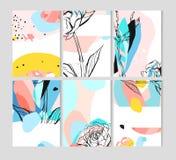 Reeks creatieve universele bloemenkaarten met plaats voor uw tekst Kunstaffiches Hand Getrokken texturen Huwelijk, verjaardag vector illustratie