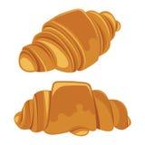 Reeks croissants op een witte achtergrond wordt geïsoleerd die Vector Royalty-vrije Stock Afbeeldingen