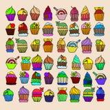 Reeks cupcake De vector van de kleurenkrabbel Royalty-vrije Stock Afbeeldingen