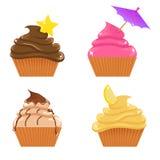 Reeks cupcakes Stock Illustratie