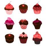 Reeks cupcakes vector illustratie