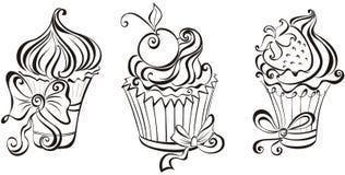 Reeks cupcakes Stock Afbeeldingen
