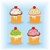 Reeks cupcakes Royalty-vrije Stock Afbeeldingen
