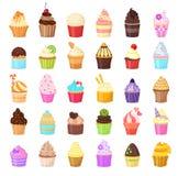 Reeks cupcakes op witte achtergrond Vector illustratie Stock Foto