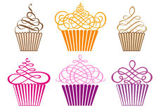 Reeks cupcakes, vector Stock Afbeelding