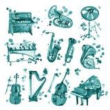 Reeks cyaanwaterverf muzikale instrumenten royalty-vrije illustratie