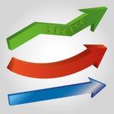 Reeks 3d glanzende pijlen: groen met woordsucces, rood, blauw op lichtgrijze achtergrond Royalty-vrije Stock Foto