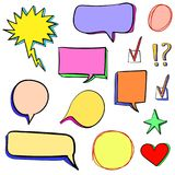 Reeks 3d hand getrokken pictogrammen: vinkje, ster, hart, toespraakbellen Vector Verschillende geplaatste kleuren vector illustratie