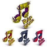 Reeks 3d kleurrijke vector verbrijzelde muzieknoten met vlekken Stock Afbeeldingen