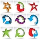 Reeks 3d netwerk kleurrijke abstracte voorwerpen Stock Afbeelding