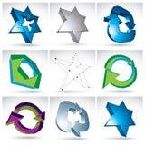 Reeks 3d netwerk kleurrijke abstracte voorwerpen Royalty-vrije Stock Foto's