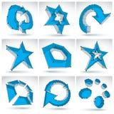 Reeks 3d netwerk kleurrijke abstracte voorwerpen, technologie Stock Afbeeldingen