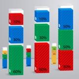 Reeks 3D van kolommen met percenten Royalty-vrije Stock Fotografie