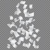 Reeks dalende of vliegende gebogen die bladeren van document, op t worden geïsoleerd stock illustratie