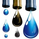 Reeks dalingen. Water en olie. stock illustratie