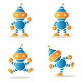 Reeks dansende robots, vectorillustratie Royalty-vrije Stock Foto's