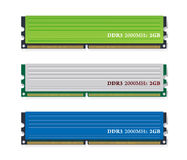 Reeks DDR3 geheugenmodules Royalty-vrije Stock Foto's