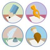 Reeks de borstelpictogrammen van het penpotlood Stock Foto's