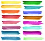 Reeks de borstelslagen van de kleurenwaterverf Stock Foto