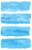 Reeks de borstelslagen van de waterverfverf Stock Foto's