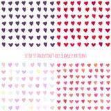 Reeks de dag naadloze patronen van Valentine met harten Stock Foto