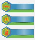 Reeks de dienstbanners van de autoreparatie met de elementen van het pictogrammenontwerp Malplaatjes voor bedrijfspresentaties ee Stock Foto