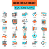 Reeks de dunne economie van lijnpictogrammen, bankwezen en financiële diensten Royalty-vrije Stock Foto's