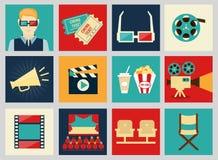 Reeks de elementen van het filmontwerp en bioskooppictogrammen Royalty-vrije Stock Afbeeldingen